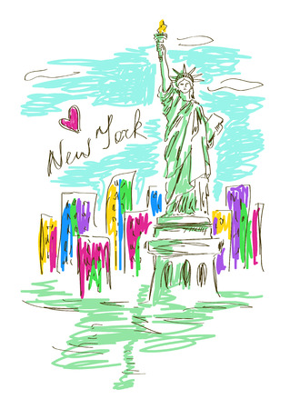 Colorful sketch illustration with Statue of Liberty in New York Vector