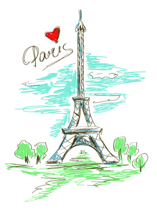 Colorful sketch illustration of Eiffel Tower in Paris Vector