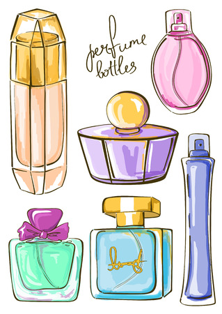 Hand drawn set of isolated perfume bottles icons Vector