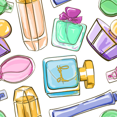 Hand drawn seamless pattern of perfume bottles Vector