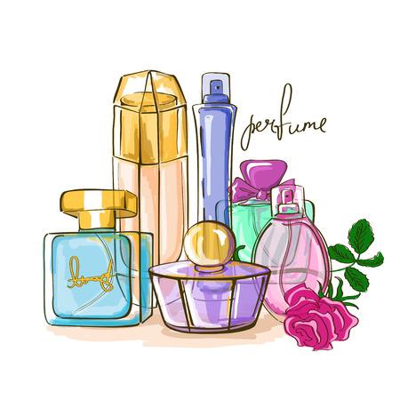 Hand getrokken illustratie van parfumflesjes Stock Illustratie