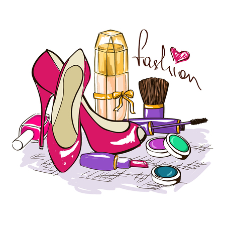lipstick brush: Hand drawn illustration of womens cosmetics, perfume bottle and high-heeled shoes