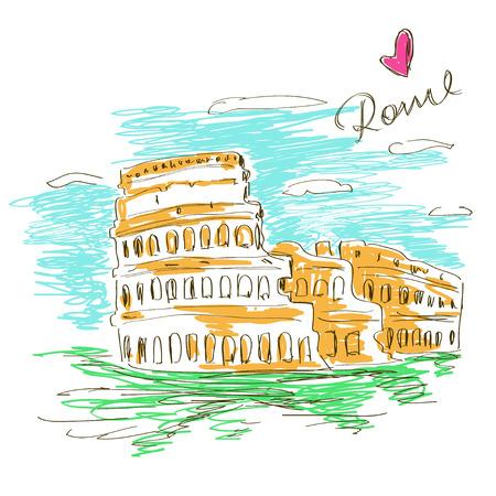 로마 콜로세움의 다채로운 스케치 그림