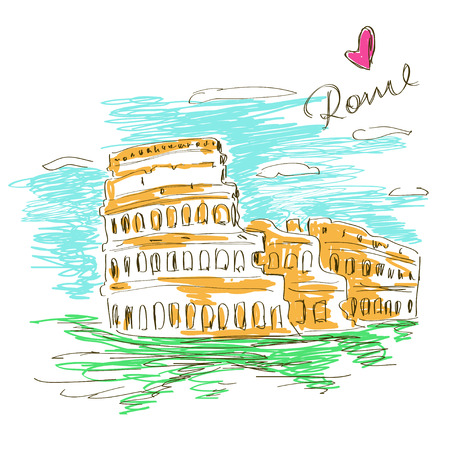 Colorful sketch illustration of Colosseum in Rome Ilustrace