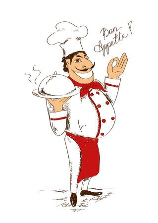 chef caricatura: Ilustración exhausta de aislados Chef de dibujos animados con plato