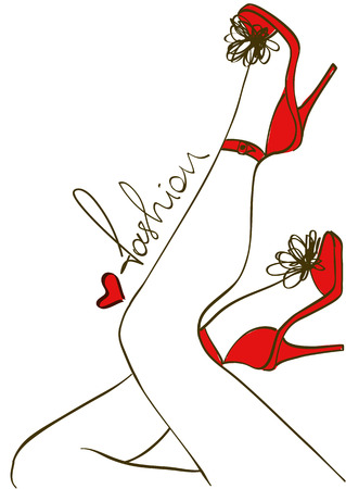 high heels woman: Minimalist fashion illustration of female legs in high heels