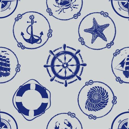 Seamless pattern nautique avec ancre, roue, compas, bouées de sauvetage, bateau, étoiles de mer, des coquillages et des crabes