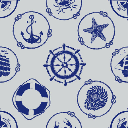 Nautical seamless pattern with anchor, wheel, compass, lifebuoy, ship, starfish, seashell and crab Illustration