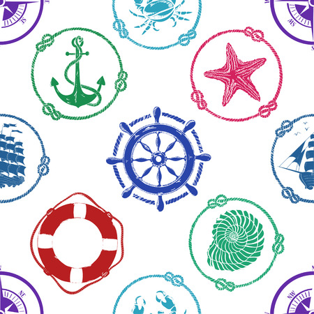 Nautical seamless pattern with anchor, wheel, compass, lifebuoy, ship, starfish, seashell and crab Vector
