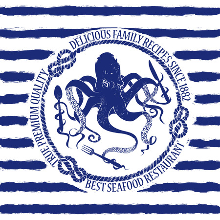Blue white seafood restaurant emblem with octopus holding fork, knife and spoon on a striped background  Vector