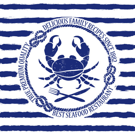 Blue white seafood restaurant emblem with crab, fork and knife on a striped background Vector