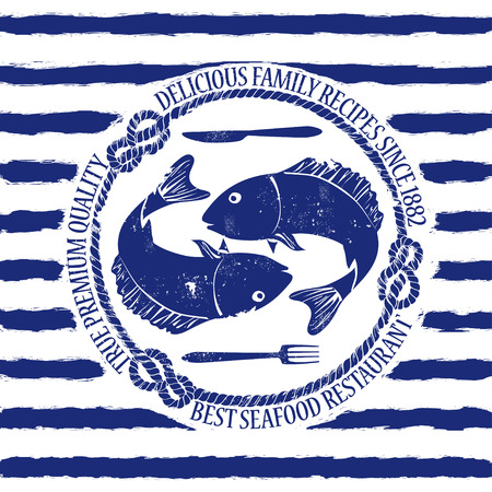 Blue white seafood restaurant emblem with fish, fork and knife on a striped background Vector