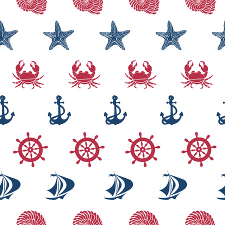 Nautical seamless pattern with anchor, wheel, ship, starfish, seashell and crab Vector