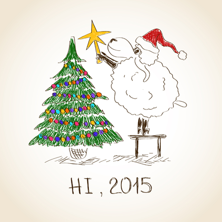 Funny sketching sheep decorate the Cristmas tree - symbol of the New Year 2015 Vector