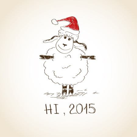 Funny sketching sheep - symbol of the New Year 2015 Vector