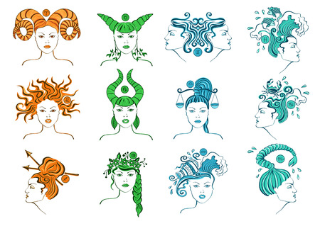 Set of isolated zodiac signs with stylized female portrait Vector