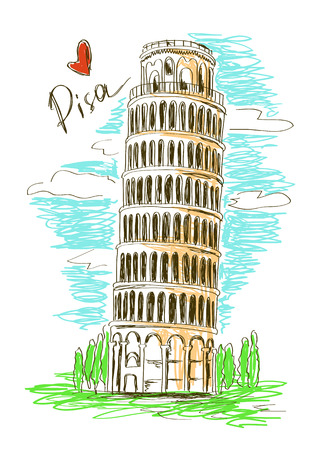 Colorful sketch illustration of Pisa tower, Italy Illustration