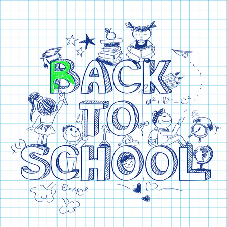 Funny back to school sketch background on a sheet of exercise book Vector