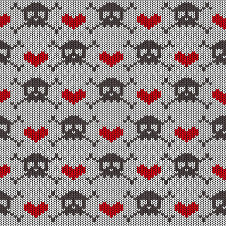 Knitted seamless pattern with skulls, crossbones and hearts