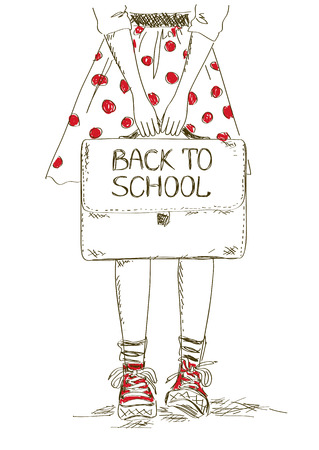 Sketch back to school illustration with girl holding bag Vector