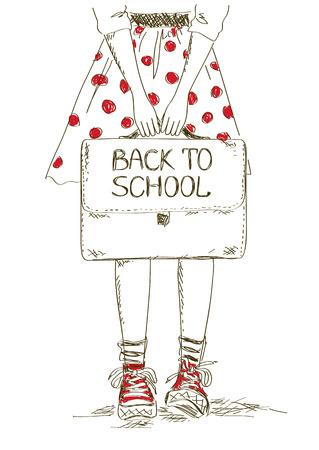 school bag: Sketch back to school illustration with girl holding bag