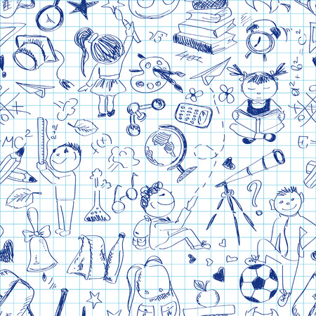 Fun back to school sketch seamless pattern on a sheet of exercise book Vector