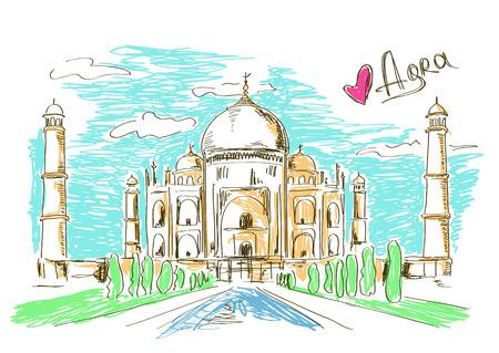 agra: Colorful sketch illustration of Taj Mahal in Agra, India