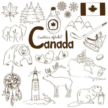 Fun collection croquis d'icônes Canada, pays alphabet Banque d'images - 29841151