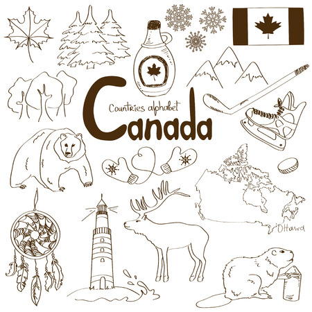 Fun sketch collection of Canada icons, countries alphabet