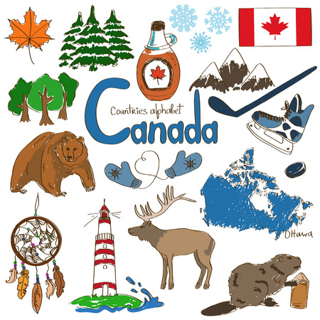Fun colorful sketch collection of Canada icons, countries alphabet