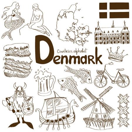 楽しいスケッチ デンマーク アイコンのコレクション  イラスト・ベクター素材