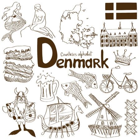 Fun sketch collection of Denmark icons