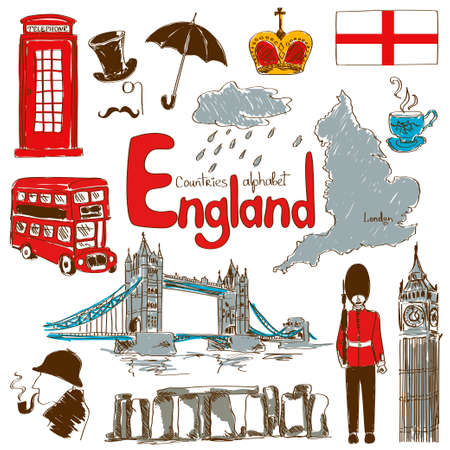 british weather: Fun colorful sketch collection of England icons