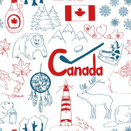 楽しいカラフルなスケッチ カナダのシームレス パターン
