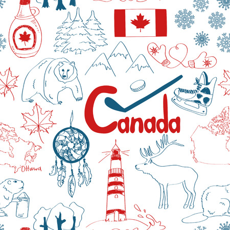 Fun colorful sketch Canada seamless pattern