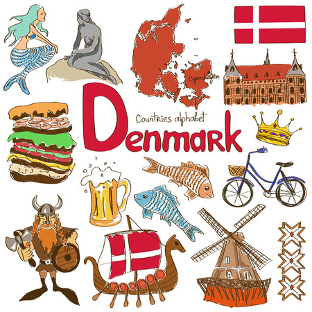 Fun colorful sketch collection of Denmark icons