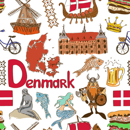 Fun colorful sketch Denmark seamless pattern Illustration