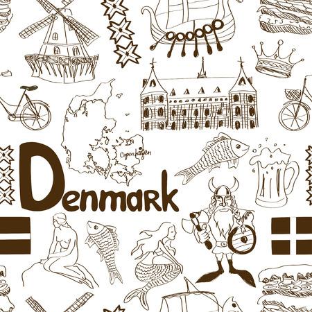 Fun sketch Denmark seamless pattern Stock Vector - 29840974