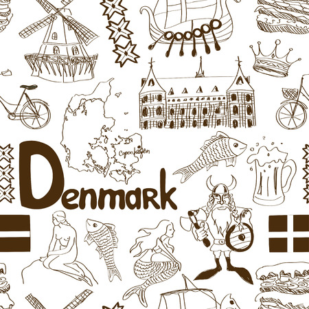 Fun sketch Denmark seamless pattern