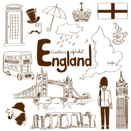 england map: Fun sketch collection of England icons