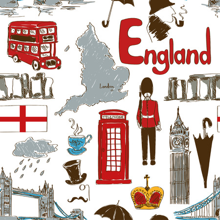 Fun colorful sketch England seamless pattern