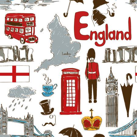 Naadloze: Leuke kleurrijke schets Engeland naadloze patroon