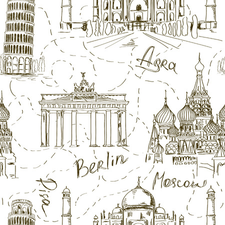 Sketch seamless pattern with Pisa tower, Taj Mahal, St Basils Cathedral and Brandenburg gate