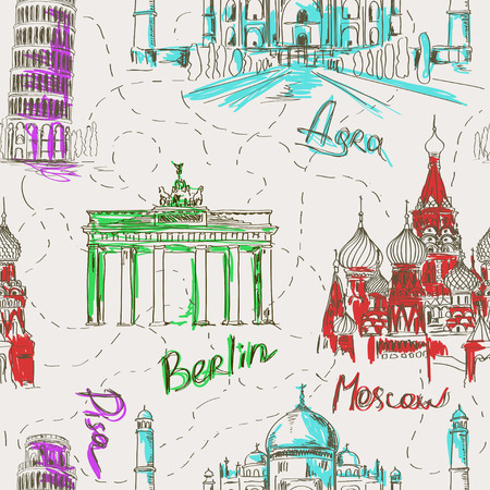 india gate: Sketch seamless pattern with Pisa tower, Taj Mahal, St Basils Cathedral and Brandenburg gate