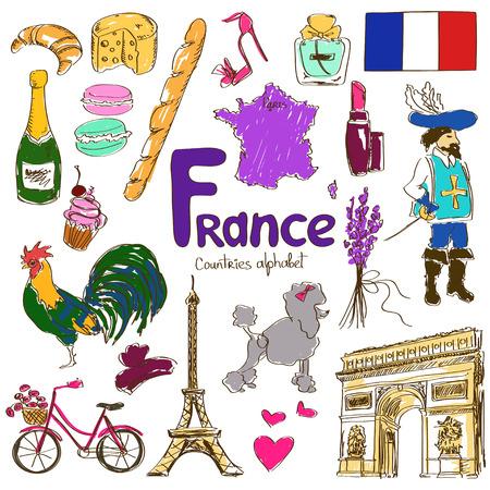 프랑스 아이콘의 다채로운 스케치 수집, 국가의 알파벳