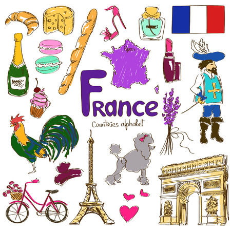 Colorful sketch collection of France icons, countries alphabet