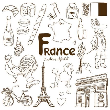 Leuke schets collectie van Frankrijk iconen, landen alfabet Stock Illustratie