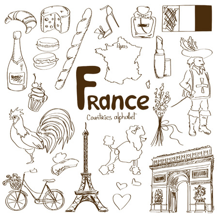 Fun sketch collection of France icons, countries alphabet Illustration