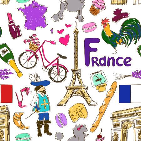 재미 다채로운 스케치 프랑스 원활한 패턴 일러스트