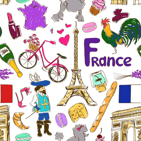 Fun colorful sketch France seamless pattern Иллюстрация